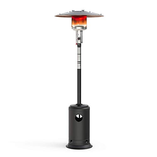 "Terra Hiker Outdoor Patio Heater, Propane Space Heater, 89"" Garden Gas Heater with Wheels, 47,000 BTUs to Heat Areas up to 269 sq. ft, ETL Certified, Black"