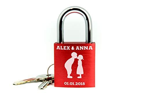 BASI Liebesschloss mit Gravur I Valentinstagsgeschenk für Sie - Valentinstagstag Geschenk - Liebesschloss mit Gravur und Schlüssel - rot