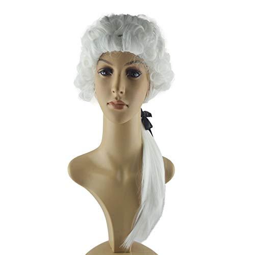 Mannen Vrouwen Cosplay Pruiken Witte Advocaat kostuum pruik Halloween Masquerade Ball rechter Court Rollenspel Headwear