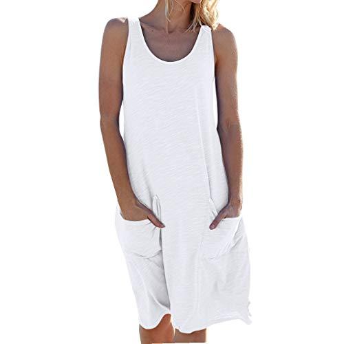 Momoxi Damen Sommerkleid Womens Urlaub Sommer solide ärmellose Party Strandkleid Ballkleider Sommerkleider Brautkleider hochzeitskleider Rock Lederjacke Weiß L