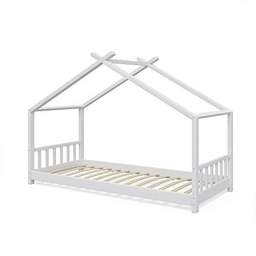 VitaliSpa Design Kinderbett Hausbett Kinderhaus Bett Massivholz Holz Holzbett Kinder 90x200cm Weiß