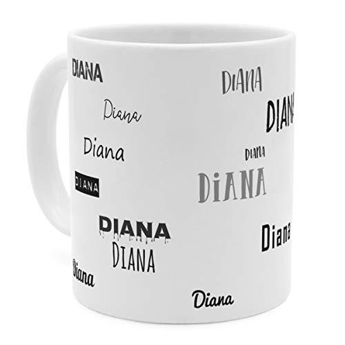 printplanet Tasse mit Namen Diana - Motiv Schriftarten Sammlung - Namenstasse, Kaffeebecher, Mug, Becher, Kaffeetasse - Farbe Weiß