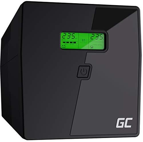 Green Cell® UPS USV Unterbrechungsfreie Stromversorgung 1000VA (600W) mit Überspannungsschutz 230V Line-Interactive Spannungsregelung AVR USV-Anlage USB/RJ45 2X Schuko 2X IEC Ausgänge LCD Bildschirm