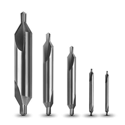 YOTINO 5 Pcs Center Drill Bits Set Mill Center Drills High Speed Steel Center Drills Combined Countersink Spotting Drills with Different Sizes 1/ 1.5 / 2.5 / 3.15 / 5 mm