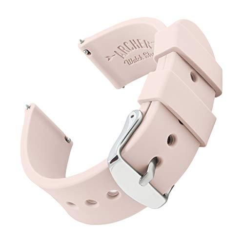 Archer Watch Straps - Correas Reloj Silicona de Liberación Rápida para Hombre y Mujer (Rosa Palo, 18mm)