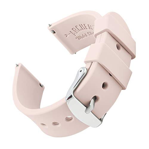 Archer Watch Straps - Silicone Quick Release Soft Rubber Replacement Watch Bands (Pale Rose, 20mm)
