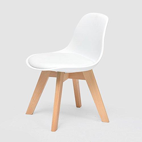 LJHA Tabouret pliable Creative chaise en bois massif enfants / dossier chaise d'étude de ménage / bébé à manger chaises / sécurité accoudoir petit banc 5 couleurs disponibles 33 * 55 cm chaise patchwork ( Couleur : Blanc )