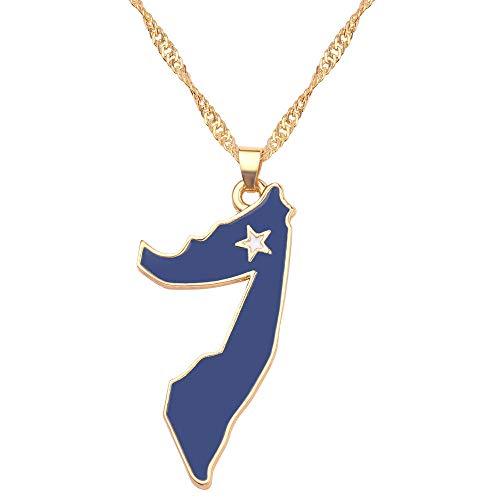YQMR Collar Colgante Mapa Mujer,Mapa De África Collar Vintage Dorado Bandera De Somalia Colgante Multicolor Retro Joyería Dama Regalo Clásico para Parejas Cumpleaños Boda