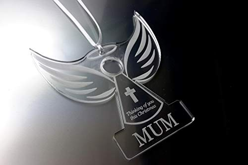 Origin Remembrance Angel 'MUM' – Christmas Tree Decoration, Memory Bauble, Engraved, Clear Plastic