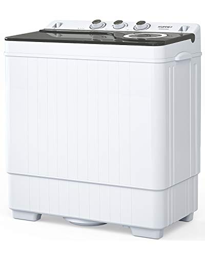 KUPPET Compact Twin Tub Portable Mini Washing Machine 26lbs Capacity, Washer(18lbs)&Spiner(8lbs)/Built-in Drain Pump/Semi-Automatic (White&Gray)