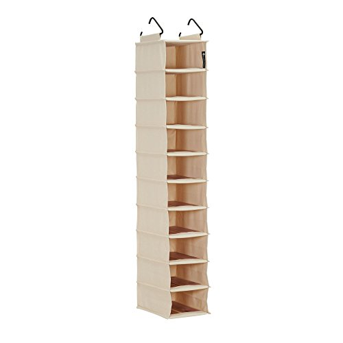 Household Essentials Cedar Stow 10-Shelf Narrow Shelves   Shoe Organizer Hanging Wardrobe, Off-White