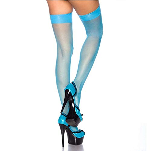 TIANYIP 6 pairsLong Tube Female Socks Sommer Europa und Amerika Sexy Solid Color Translucent Frauen ultradünne Strümpfe (Color : Blue)
