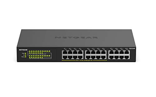 Netgear GS324P 24 Port Gigabit Ethernet LAN PoE Switch (mit 16x PoE+ 190W, Plug-and-Play, Desktop- oder Rack-Montage, energieeffizient, robustes Metallgehäuse)