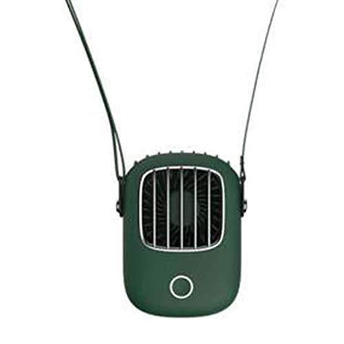 Nrew Mini Ventilador de Cuello USB 5V Cool Recargable Viaje al Aire Libre Colgante Portátil Silencioso Verde Oscuro