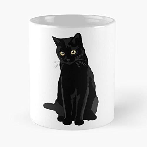 Animal Kitten Tabby - Taza de café de cerámica blanca con diseño de gato negro