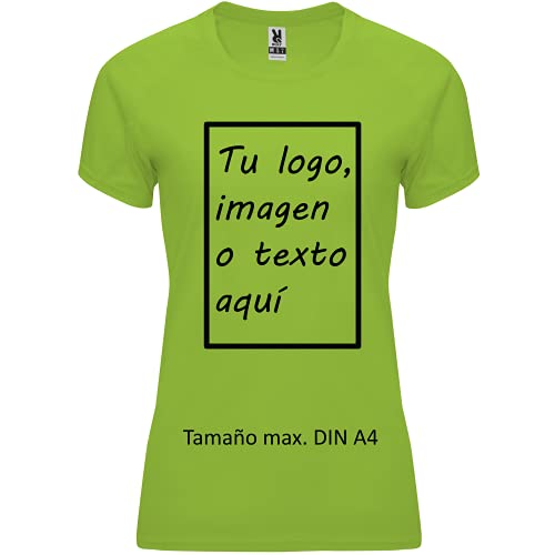 rainUP – Camiseta Técnica Personalizable – Camiseta Deportiva Running Mujer - Manga Corta – Impresión Directa (DTG) – Puedes añadir tu Frase, Logo o Imagen Personalizada (Verde)