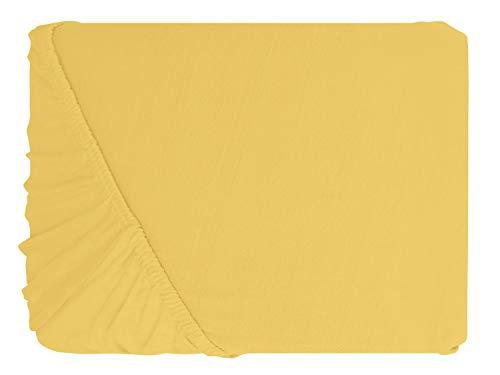 npluseins klassisches Jersey Spannbetttuch – erhältlich in 34 modernen Farben und 6 verschiedenen Größen – 100% Baumwolle, 70 x 140 cm, gelb - 2