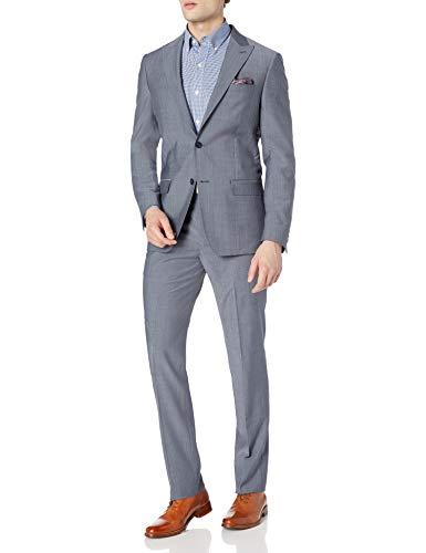 DKNY Men's Slim Fit Soft Suit, Light Blue, 42R