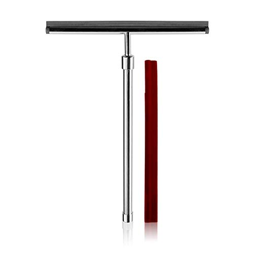 Handig Douche Squeegees RVS raamwissers Schaalbare, for Badkamer Mirror Wiper, Glass Cleaning + 1 Vervanging Silicon Blade