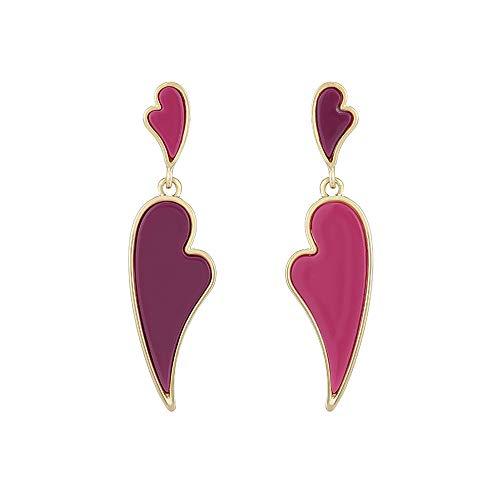 PROVISTO Ohrringe Herzform buntes Geschenk Alloy 14K Goldfarbe Lila Pink rechts links unterschiedlich Geschenke für Frauen Mütter 52 mm lange Ohrhänger in Schmuck Geschenk Box