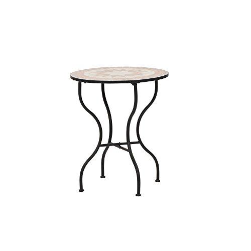 Siena Garden Tisch Finca, Ø60x71cm, Gestell: Stahl, pulverbeschichtet in schwarz matt, Fläche: Mosaik,Tischplatte: Keramik