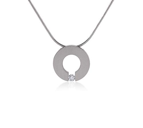 B.Tiff Malfinia Pendant Love Circle Simulated Diamond Pendant Necklace Stainless Steel with Coil Snake Chain, 18-inch