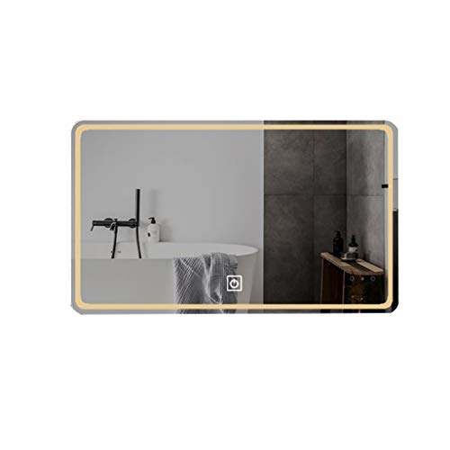 Hfyo Badkamerspiegel met LED, zonder frame, rechthoekig, wandspiegel met touch-schakelaar, wit licht/warm licht, make-up spiegel