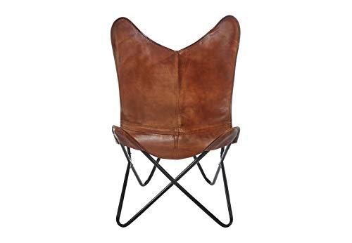 Kobolo Butterfly Chair Schmetterlingsstuhl Butterfly Sessel aus Leder - Braun