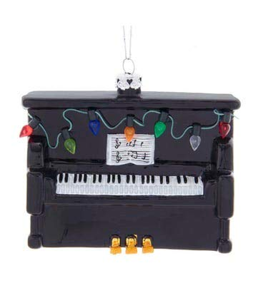 Kurt Adler Glass Ornament with S-Hook and Gift Box, Hobby Collection (Upright Piano, NB1554)