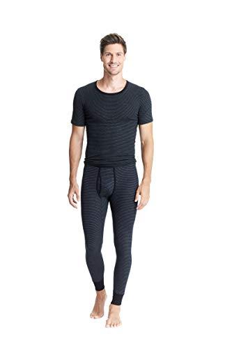 con-ta Lange Hose mit Eingriff, Klassische Unterwäsche für Herren, anschmiegsame Unterhose, Leggins aus weicher Baumwolle, in Schwarz Geringelt, Größe: 6