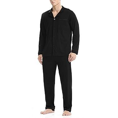 David Archy Men's 100% Cotton Long Button-Down Sleepwear Pajama Set (XL, Black)
