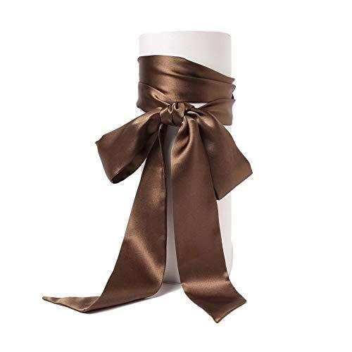 SWECOMZE Satin-Schärpe Gürtel Damen Hochzeit Bogen Band Schal Krawatte (Braun)