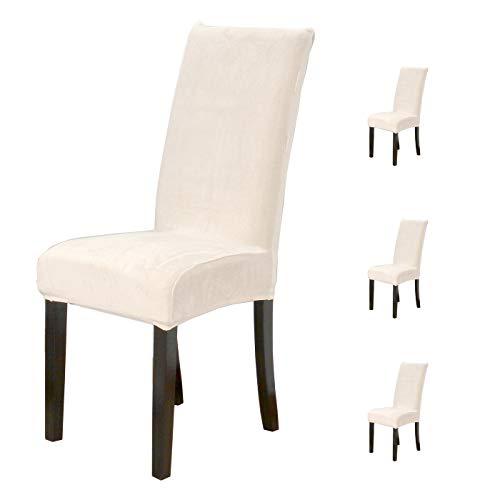 Dalina Textil 4 hochwertige elastische Stuhlhussen mit beigefarbenem Samt-Design, waschbar und verstellbar, zum Dekorieren und Schutz jeder Art von Stuhl. (4 Samtbezüge, Beige)