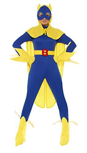 Smiffys, dames bananaman kostuum, catsuit, masker, handschoenen en laarzen, maat: M, 34067 Größe: 36-38 blauw