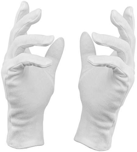 Baumwollhandschuhe weiß, Neurodermitis Handschuhe, Premium Qualität (12 Paar, Größe: M)