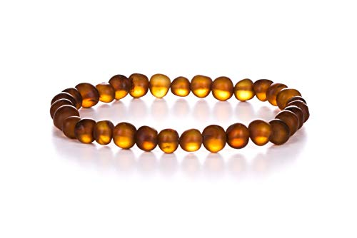 AMBERAGE Natural Baltic Amber Bracelet for Adults (Women/Men) - Hand Made from Raw-Unpolished/Certified Baltic Amber Beads(6 Colors) (7, Raw-Unpolished Cognac)