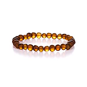 Natural Baltic Amber Bracelet for Adults (Women/Men) - Hand Made from Raw-Unpolished/Certified Baltic Amber Beads