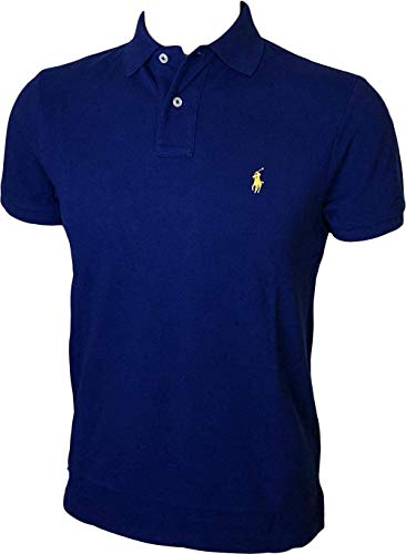 Polo Ralph Lauren Men Custom Fit Mesh Pony Logo Shirt (S, StrongBlue)