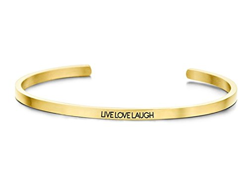 KEY MOMENTS Damen-Armreif LIVE Love Laugh Edelstahl Zirkonia goldfarbig 62mm x 3mm