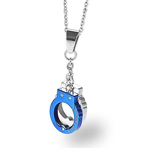 Beydodo Collares Acero Inoxidable Colgante Unisex Esposas Collar Unisex Azul Plata