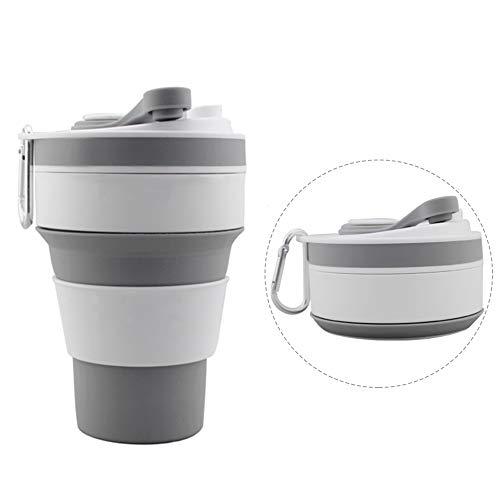 SOOJET Taza de café Plegable, Reutilizable Taza de Viaje de Silicona Plegable 350 ml/12 oz Tazas para Capuchino Espresso Copa para Camping Caminatas Picnic - Gris