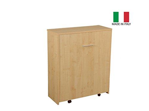 Eurobrico Mobile Letto Estraibile a Scomparsa con Rete e Materasso - Struttura Colore Acero - Made in Italy