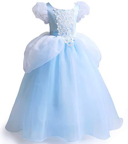 Costume da principessa, da Cenerentola, vestito a maschera per Halloween, per travestimento cosplay Blu Cenerentola. 6-7 Anni