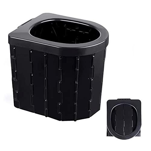 Inodoro portátil plegable para camping, viajes, senderismo, excursiones, atascos (negro)