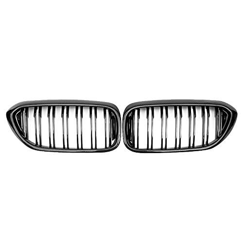 ZQCJDM Grill Ridney, Al21 -Real Fibra de Carbono Frontal Parachoques Dual Line Line Grille para 5 Series G30 / G31 2017-2020 525i 530i 535i 540i