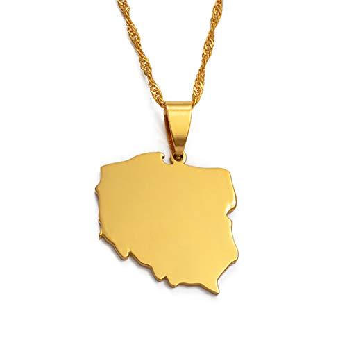 SWAOOS Collares Colgantes Polska Map para Mujeres Joyería Mapas De Polonia Cadena 60Cm