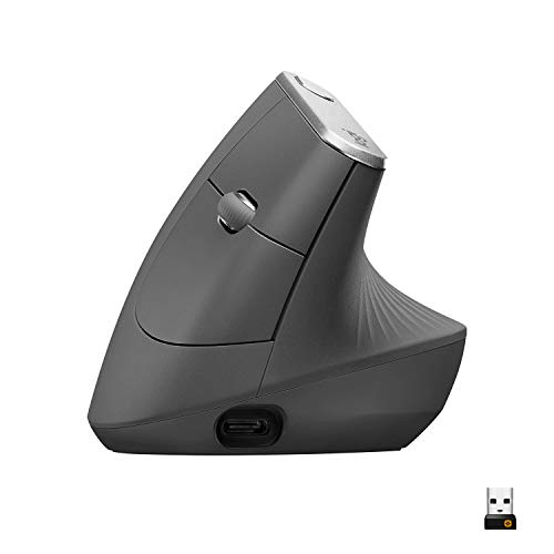 Logitech MX Vertical Wireless Mouse – Advanced Ergonomic Design Reduces Muscle Strain, Control and Move Content Between 3 Windows and Apple...