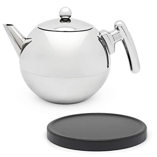 Bredemeijer Silberne doppelwandige Edelstahl Teekanne Set 1.2 Liter & runder schwarzer Untersetzer aus Holz