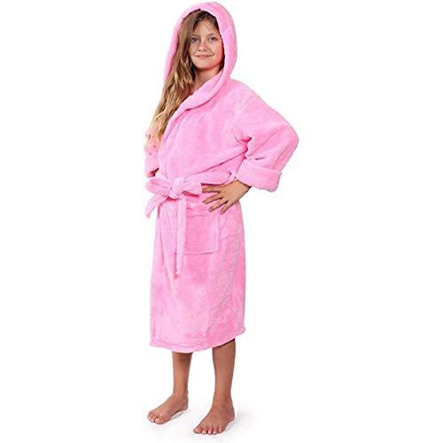 LEYUANA Kinder Flanell Kapuze Bademantel, Für Jungen Mädchen Verdicken Schlafroben Kleinkind Baby Kleinkind Strandtücher Pyjama XLHeight125-135cm 002