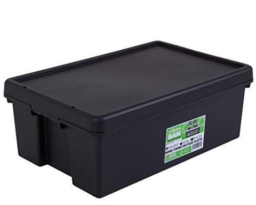 Wham 4 x Bam Heavy Duty recyclage Box – 36 l avec couvercle – 59,5 x 39 x 21,5 cm – Noir